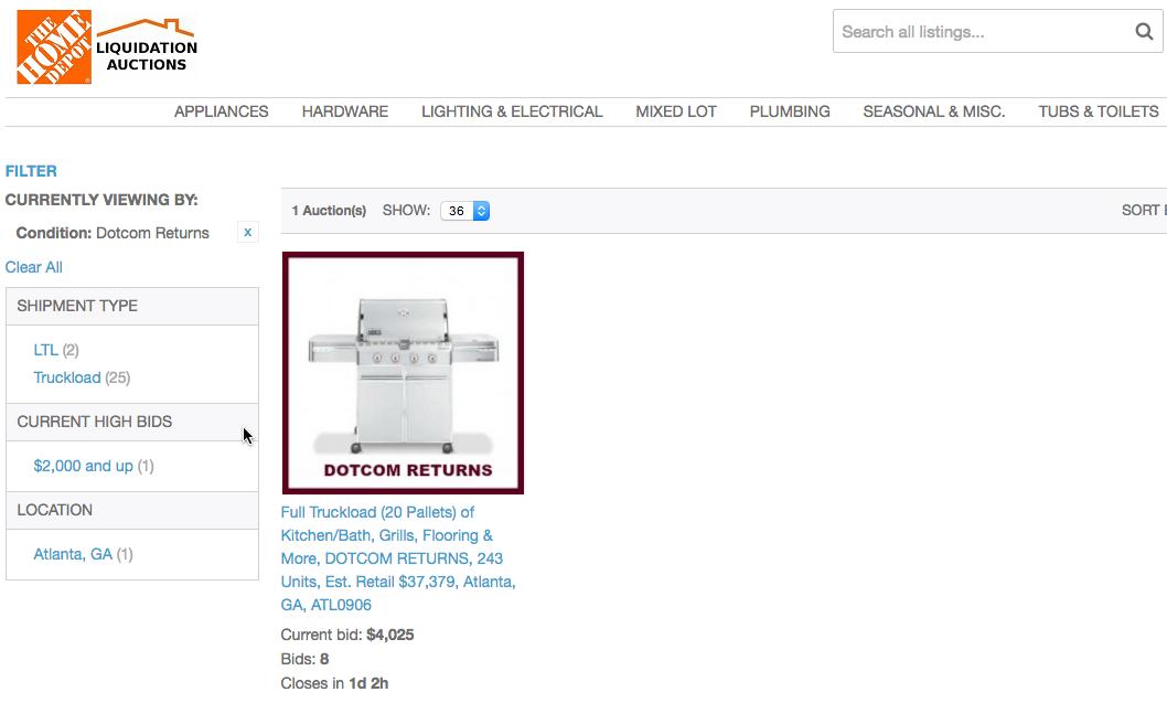 Home Depot E Commerce Returns Liquidation Lots Liquidation